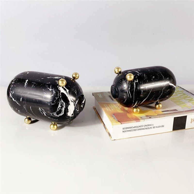 創意大理石小豬擺件簡約現代樣品房客廳電視柜動物擺設招財裝飾品