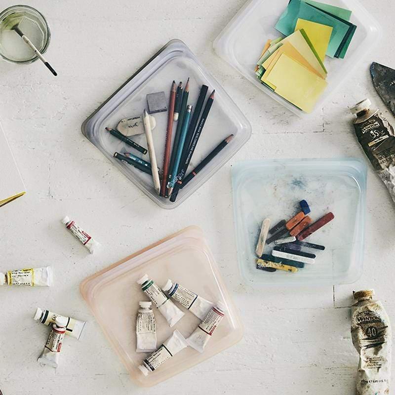 方形矽膠密封袋 三入組(繽紛多色) 泡泡藍/蜜桃粉/珍珠白