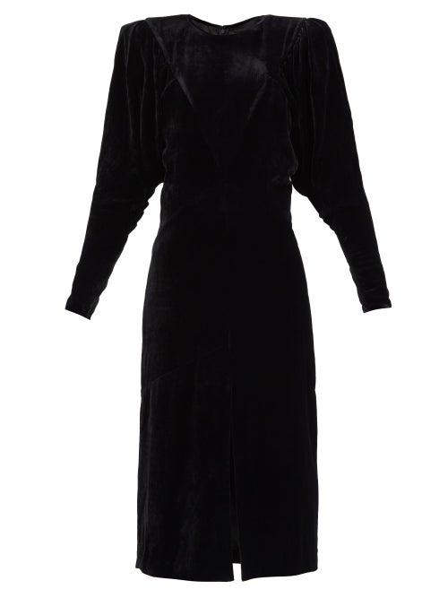 Isabel Marant - Geniasi Padded-shoulders Velvet Midi Dress - Womens - Black