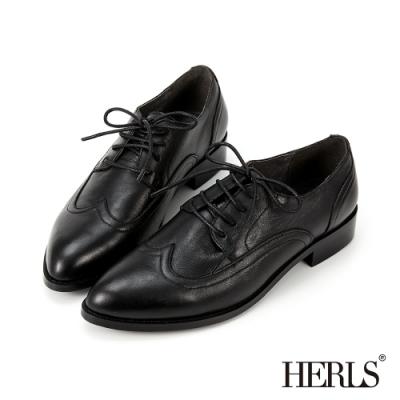 HERLS牛津鞋-全真皮翼紋縫線尖頭德比牛津鞋-黑色