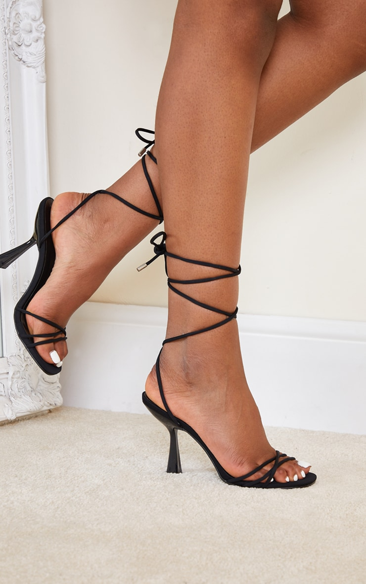 Black Lycra Cross Over Lace Up Cake Stand Mid Heels