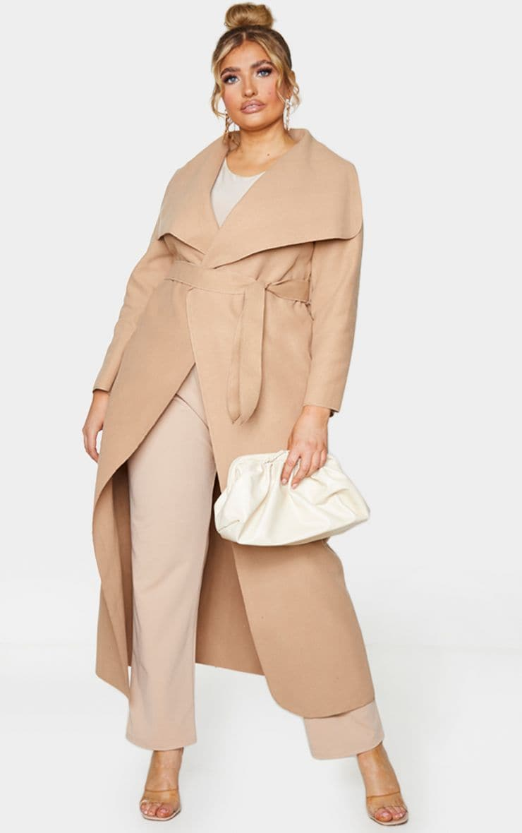 Plus Camel Maxi Oversized Waterfall Belted Coat