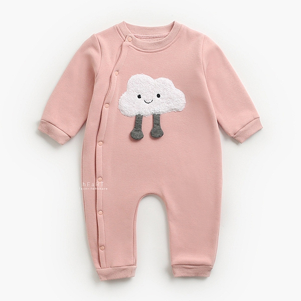 表情圖案加絨長袖包屁衣 粉色雲朵 包屁衣 連身衣 嬰兒裝