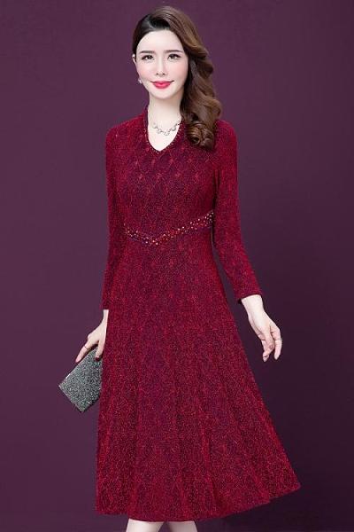 晚宴禮服 實拍2020春季新款時尚婚宴晚會媽媽裝修身顯瘦減齡長袖連衣裙