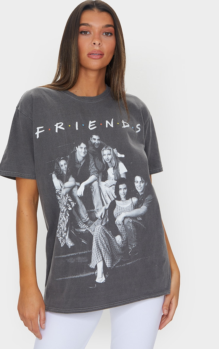 Grey Friends Washed Printed Oversized T Shirt