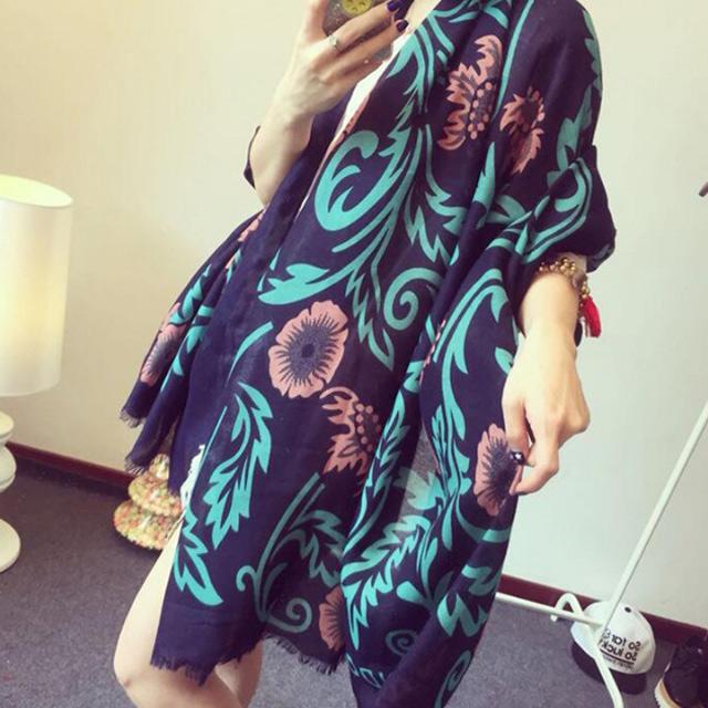 【好物良品】波西米亞風情復古文藝民族風大披肩披巾-藍綠剪花