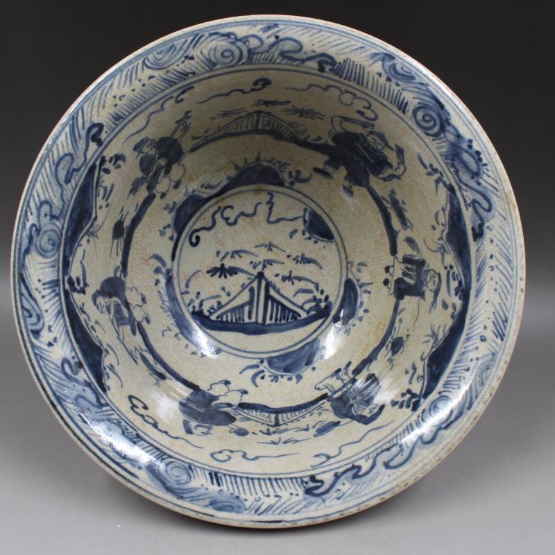 明宣德年制紅釉青花八仙人物大碗古董古玩仿古瓷器收藏全手工手繪1入