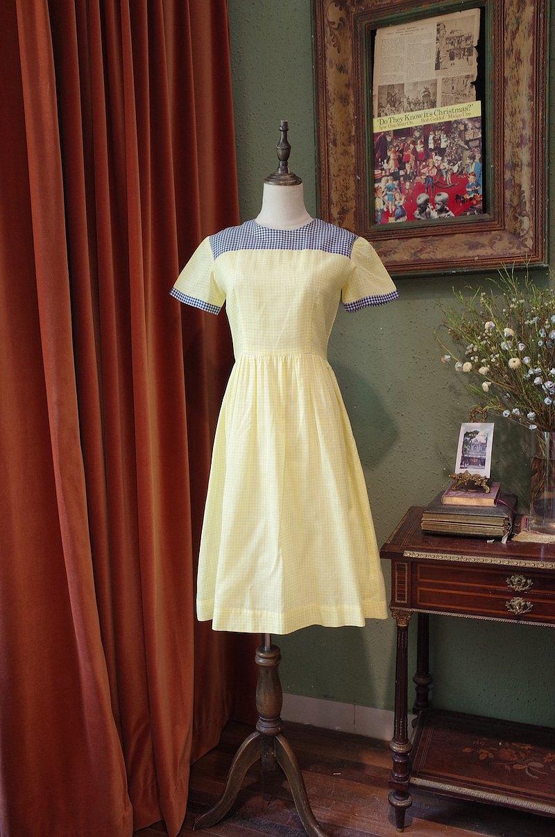 vintage dress檸檬黃格連衣裙古著洋裝