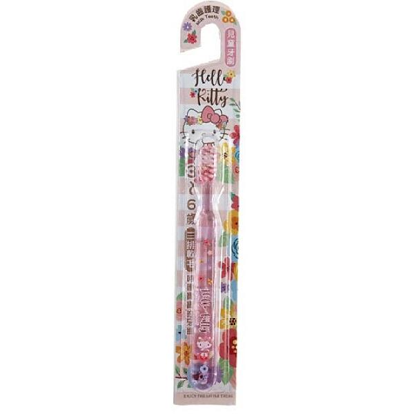 小禮堂 Hello Kitty 透明兒童牙刷 學習牙刷 學童牙刷 3-6歲適用 (粉 花朵) 4712977-46624