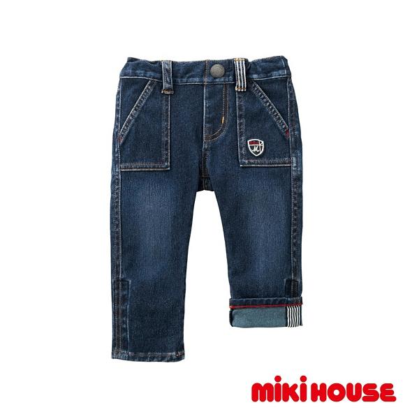 MIKI HOUSE 彈力針織長褲(靛藍)
