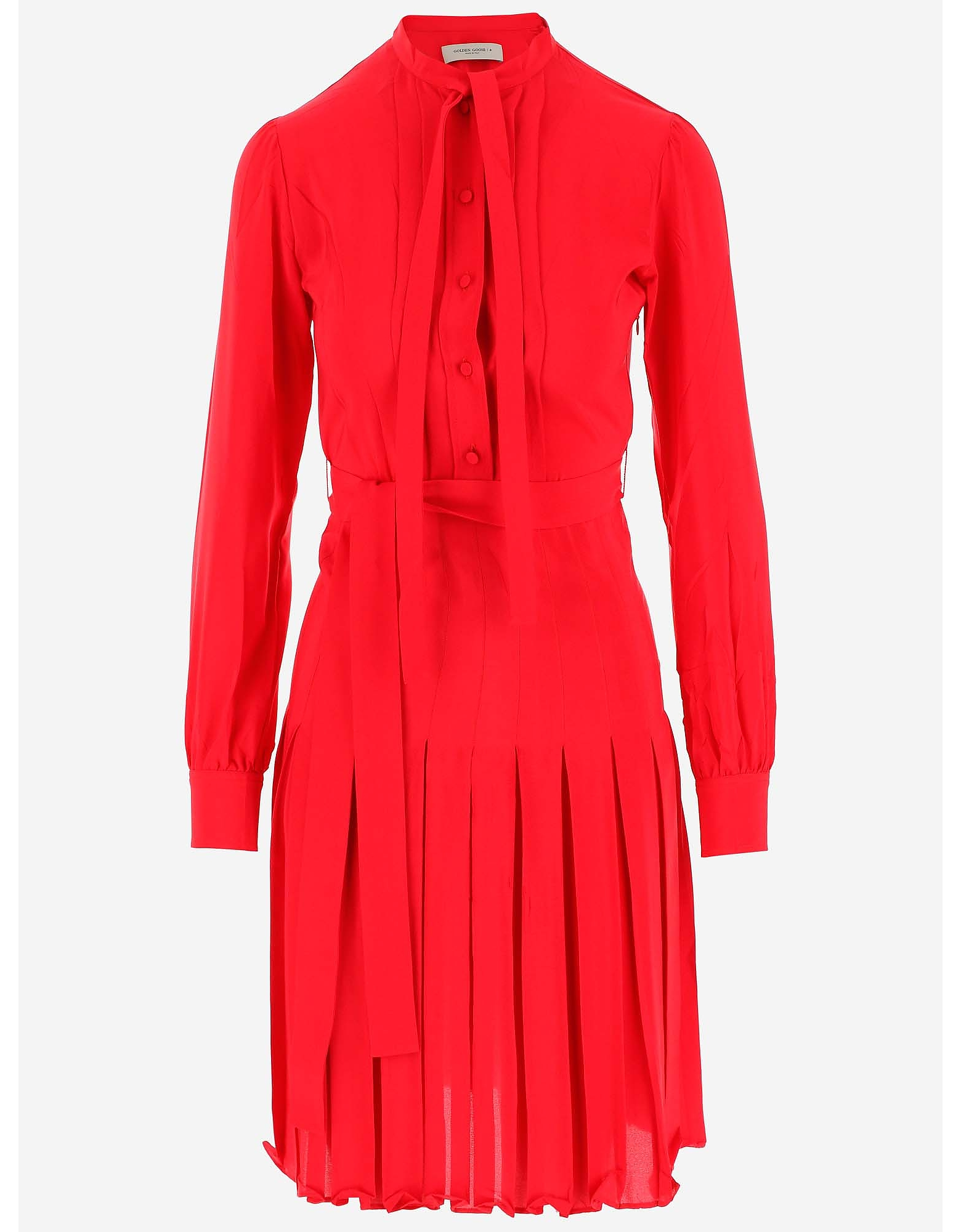 Golden Goose 连衣裙、连衣裤, Pure Red Silk Women's Dress