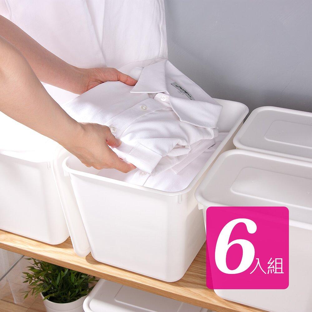 【HOUSE】台灣製 純白牛奶附蓋收納盒-圓角4號大高桶(6入)