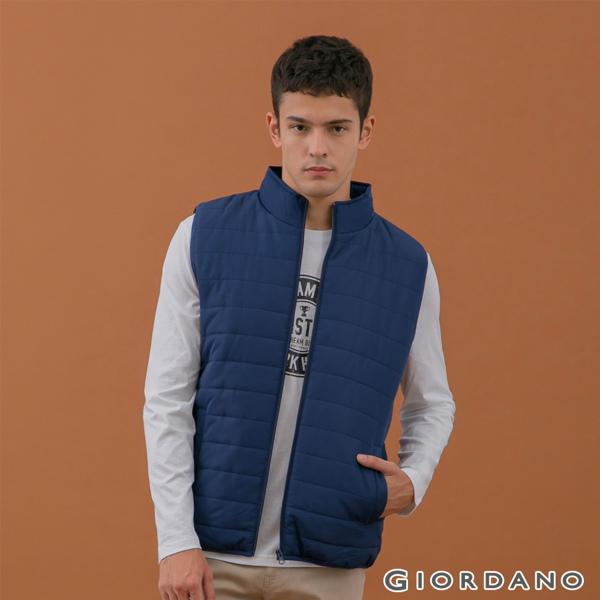GIORDANO  男裝素色鋪棉立領背心-66 標誌海軍藍