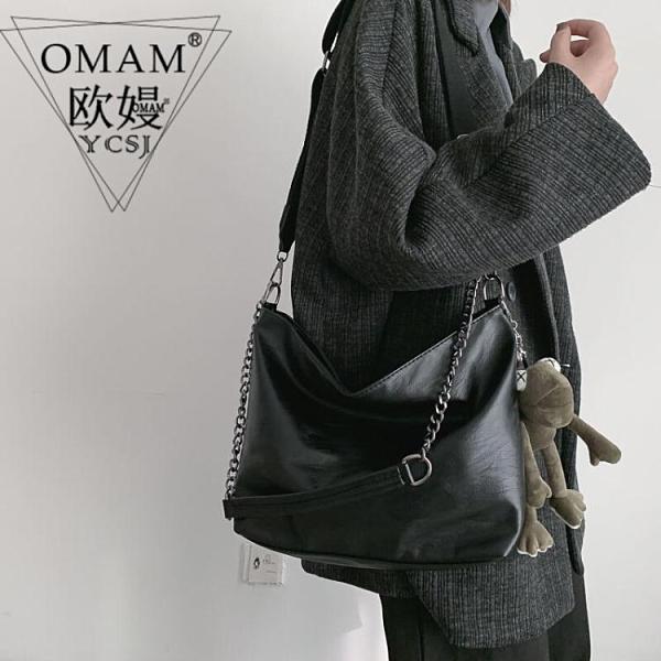 斜背包女百搭ins軟皮包大容量新款黑色單肩水桶包氣質女包潮