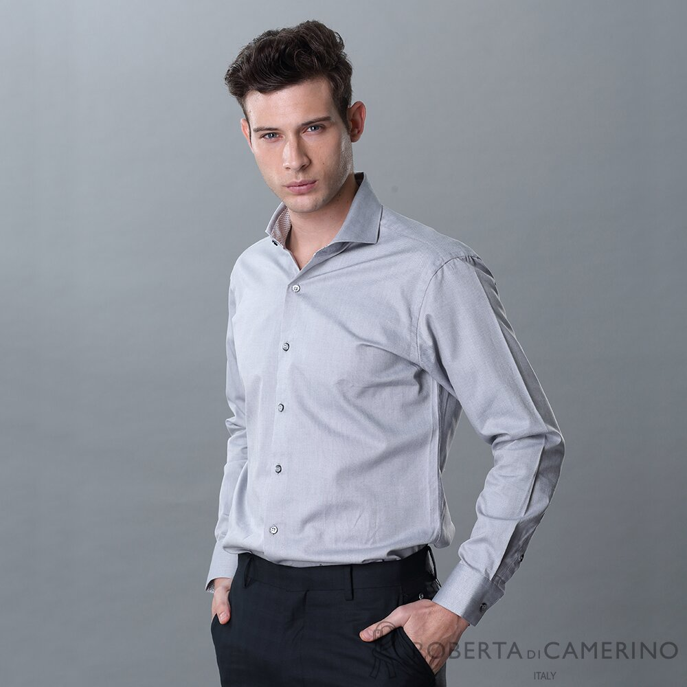 ROBERTA諾貝達 台灣製 合身版 休閒朝氣 純棉長袖襯衫 灰色
