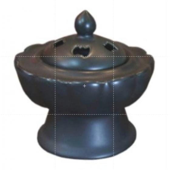 蓮花爐 搭配樹脂聖木屑超好用 黑色