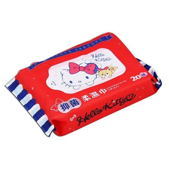 小禮堂 Hello Kitty 20抽抑菌濕紙巾包 袖珍包濕巾 柔濕巾 (紅藍 小熊)