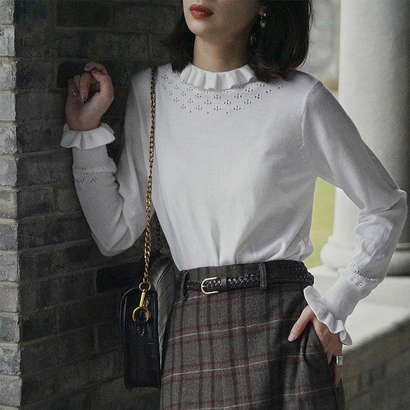 荷葉邊鏤空修身針織打底衫|針織衫|秋冬款|羊毛|Sora-613