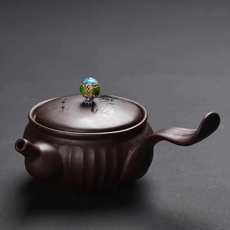 【快速出貨】茶壺功夫茶具茶壺家用激光精刻字泡茶器過濾球孔單茶壺側把紫砂壺創時代3C 交換禮物 送禮