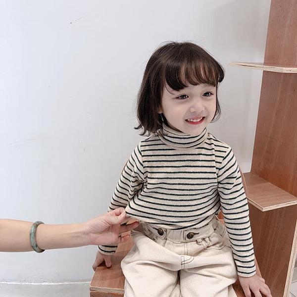 女童T恤 條紋秋冬款百搭打底衫女童休閒加絨加厚長袖T恤寶寶上衣 【618特惠】