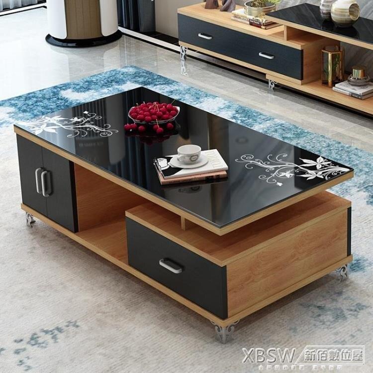 【限時下殺!85折!】現代客廳家具 鋼化琴烤漆黑白色玻璃茶几 簡約小戶型電視櫃桌