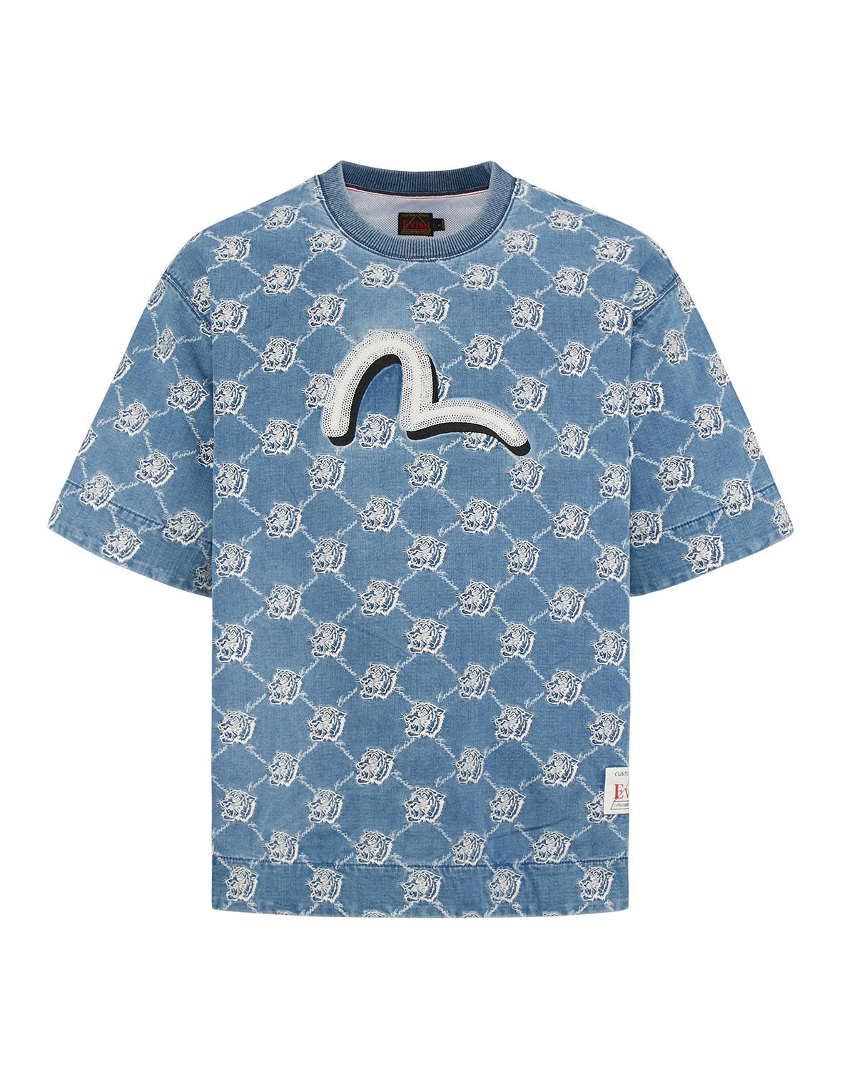 Allover Discharged Logo Print with Tiger Embroidered Denim Pullover