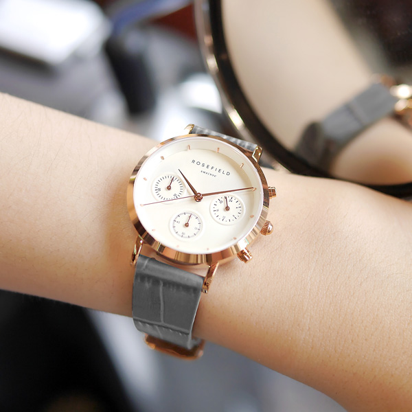 ROSEFIELD / 氣質典雅 三眼計時 日本機芯 真皮壓紋手錶 白x玫瑰金框x灰 33mm