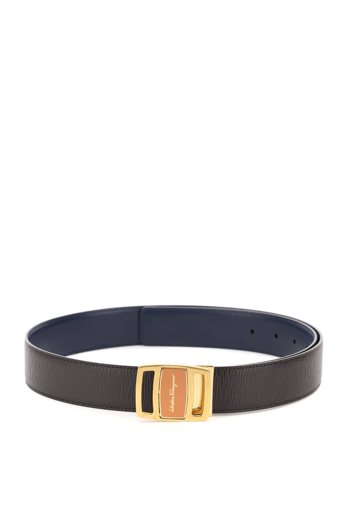 SALVATORE FERRAGAMO REVERSIBLE LEATHER BELT WITH DOUBLE-FACE BUCKLE 110 Brown, Blue Leather