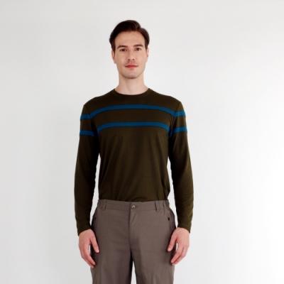 【HAKERS 哈克士】男 羊毛保暖排汗衫(橄欖色)