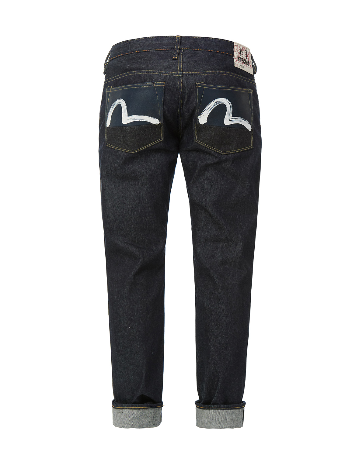 Leather-blocked Back Pockets and Hand-painted Seagull Slim Fit Jeans 2010