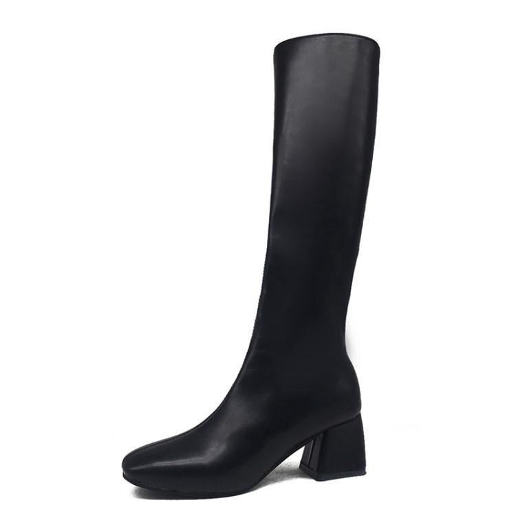 長筒騎士靴女潮ins2020秋冬新款方頭粗跟馬靴不過膝靴高筒瘦瘦靴 年貨節預購