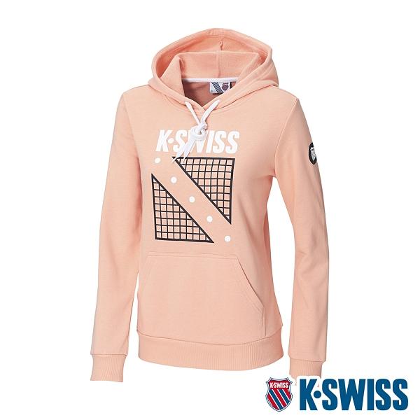 K-SWISS North Court Hoodie連帽上衣-女-蜜桃橘