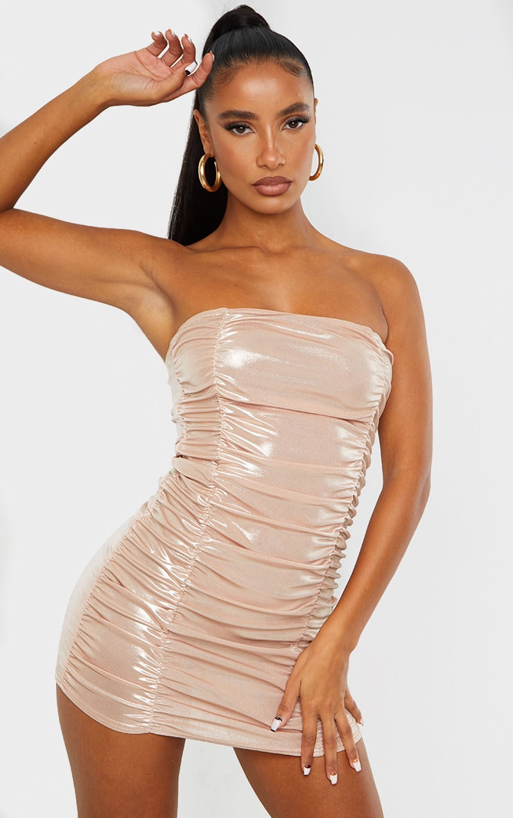 Blush Metallic Shimmer Ruched Bandeau Bodycon Dress