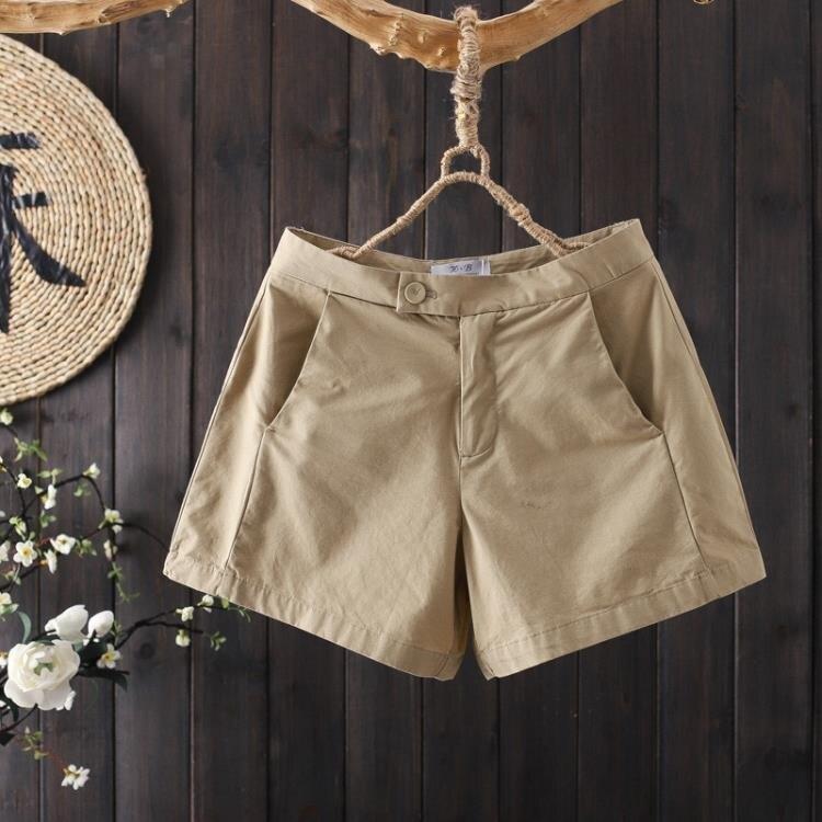 【雙十一折扣】夏裝文藝純棉凈色西裝短褲2020新款女寬鬆休閒百搭直筒褲女褲熱褲