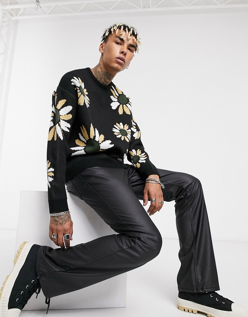 ASOS DESIGN knitted oversized jumper with floral design in black