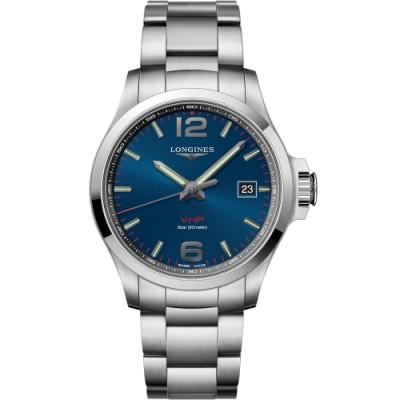 LONGINES浪琴 征服者系列V.H.P.萬年曆腕錶 L37264966-藍/43mm