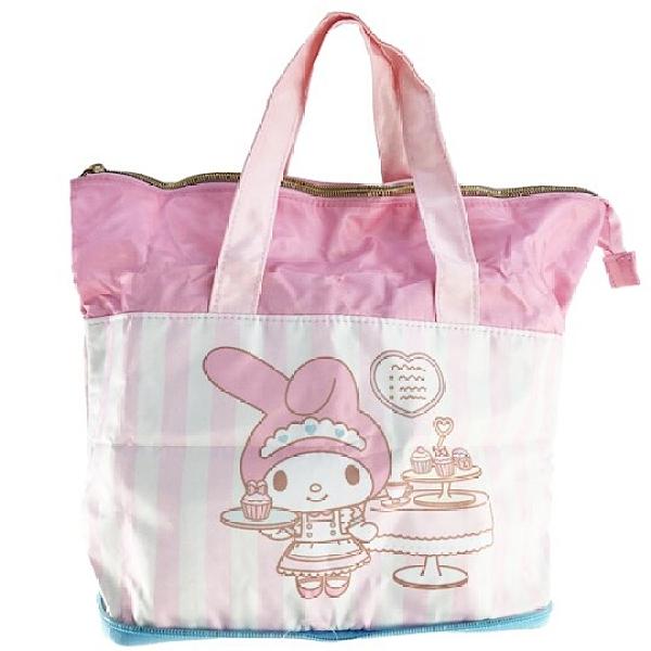 小禮堂 美樂蒂 折疊尼龍環保便當袋 環保購物袋 保冷提袋 (粉 女僕) 4901610-05909
