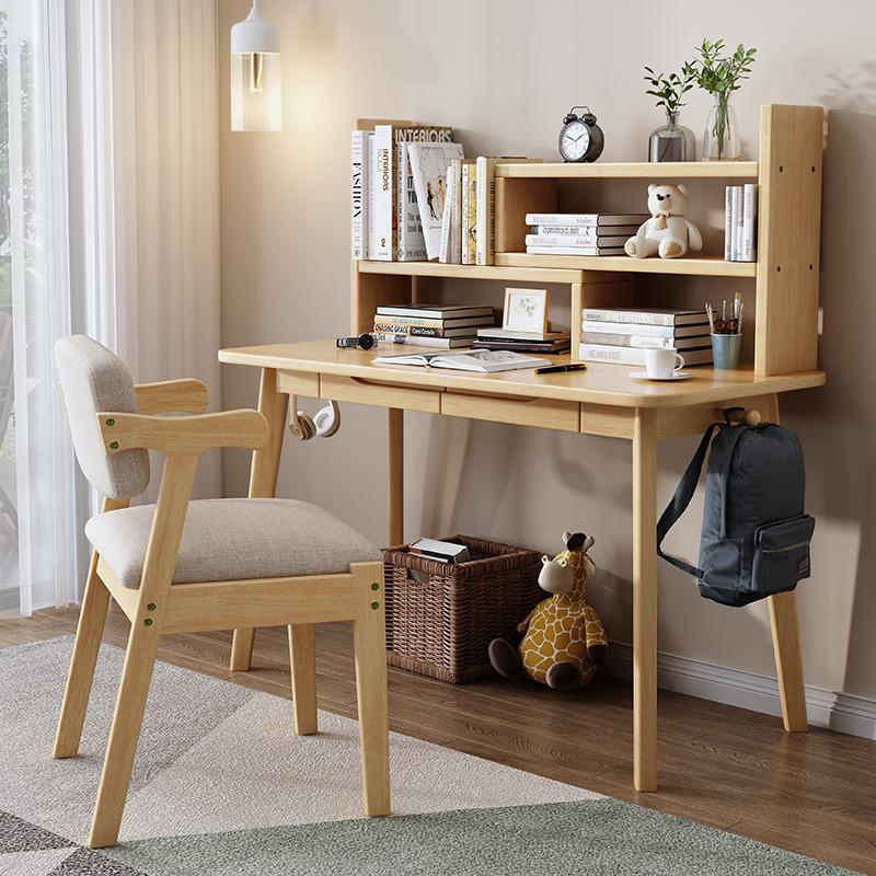 實木書桌帶伸縮書架組合轉角電腦桌兒童學生家用學習桌簡易寫字桌