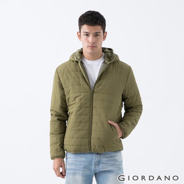GIORDANO 男裝連帽鋪棉外套-49 橄欖綠