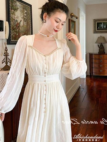 方領法式復古宮廷風顯瘦長袖洋裝2020秋長款氣質赫本打底小白裙 黛尼時尚精品