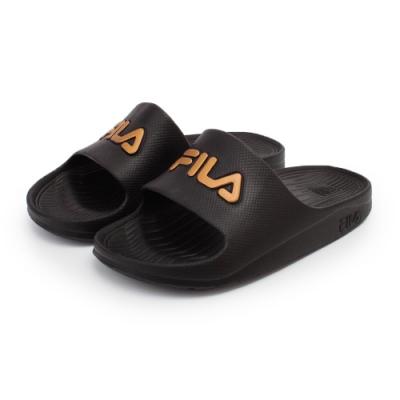 【FILA】經典防水一片式拖鞋 男女款 情侶鞋-黑金(4-S355T-009)