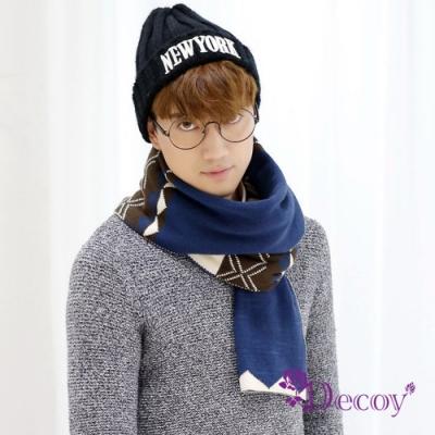 Decoy 拼貼幾何 男女中性情侶保暖圍巾 藍米棕