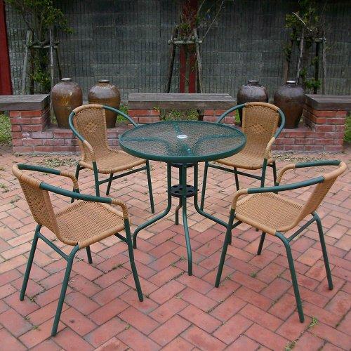 兄弟牌80cm玻璃桌+PE藤椅一桌四椅組 (綠色)