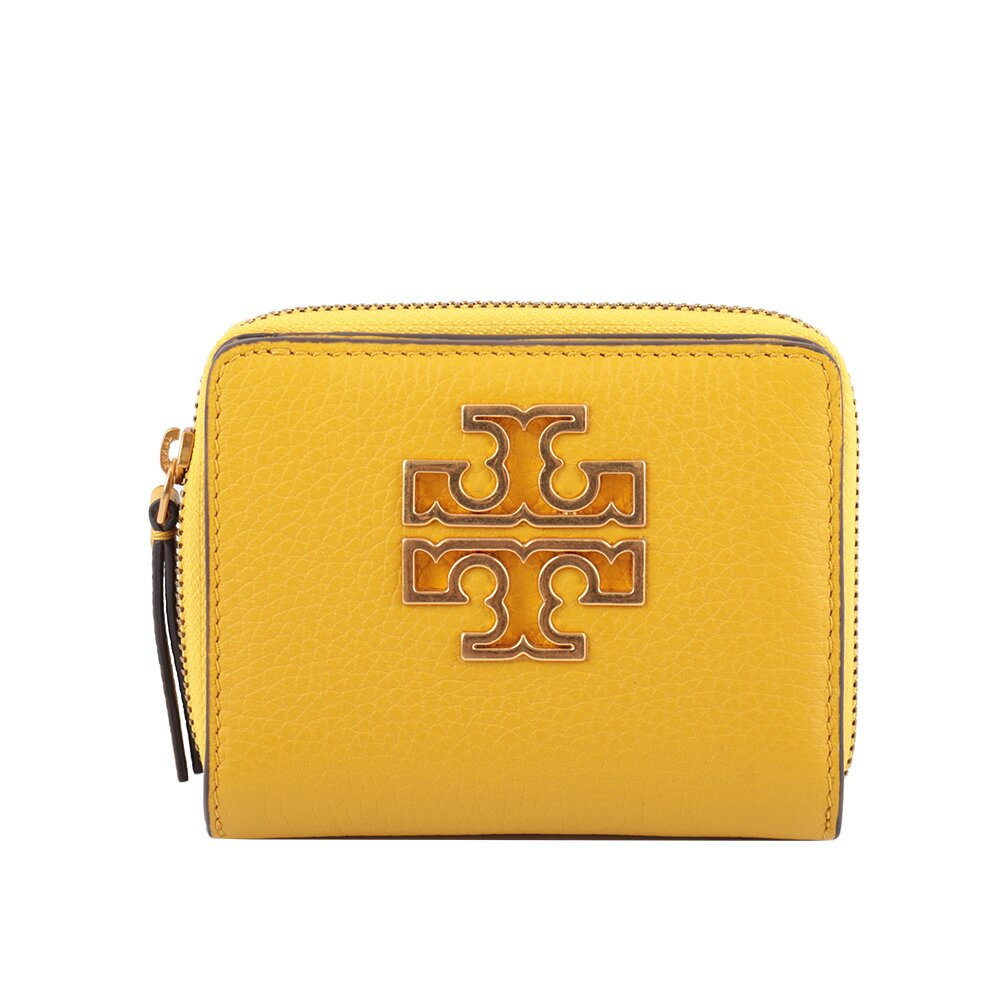TORY BURCH 金色Logo暗釦ㄇ拉二折短夾(黃色) 67307 707