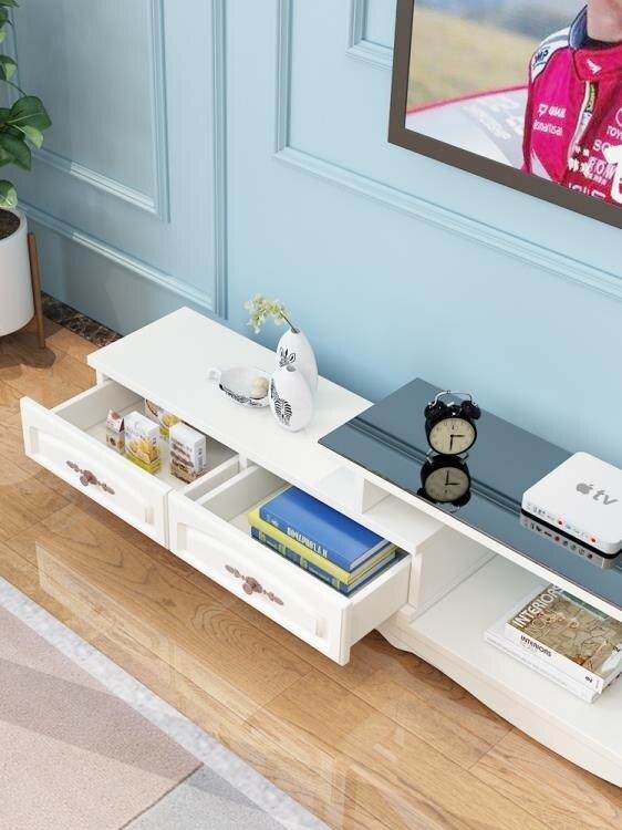 電視櫃茶幾組合套裝簡約現代小戶型鋼化玻璃客廳實木色電視機地櫃CY  自由角落