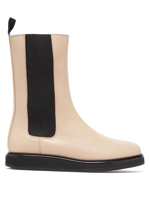 Legres - Mid-calf Leather Chelsea Boots - Womens - Cream