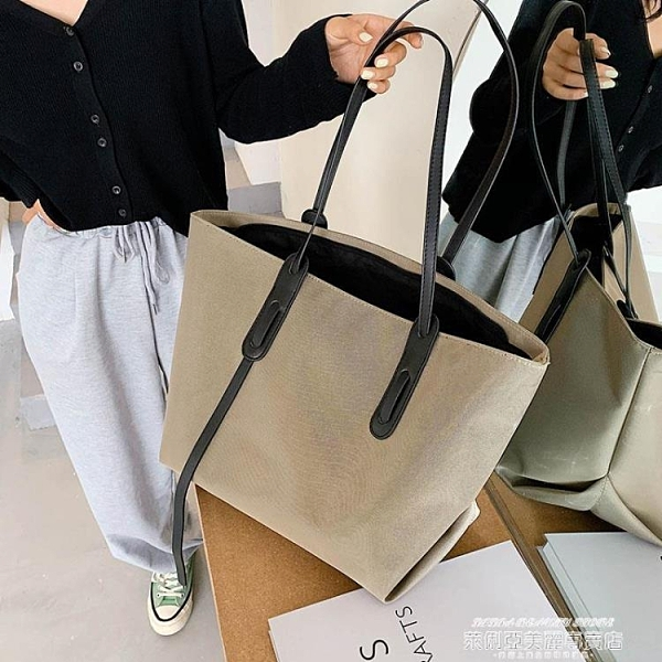 側背包 包包2020新款潮秋冬女大容量百搭帆布包時尚手提側背包大包托特包