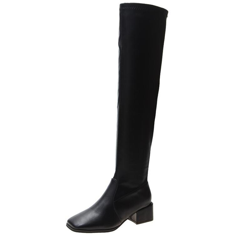長靴女過膝ins潮粗跟英倫風瘦腿彈力高跟騎士靴女網紅高筒瘦瘦靴 年貨節預購