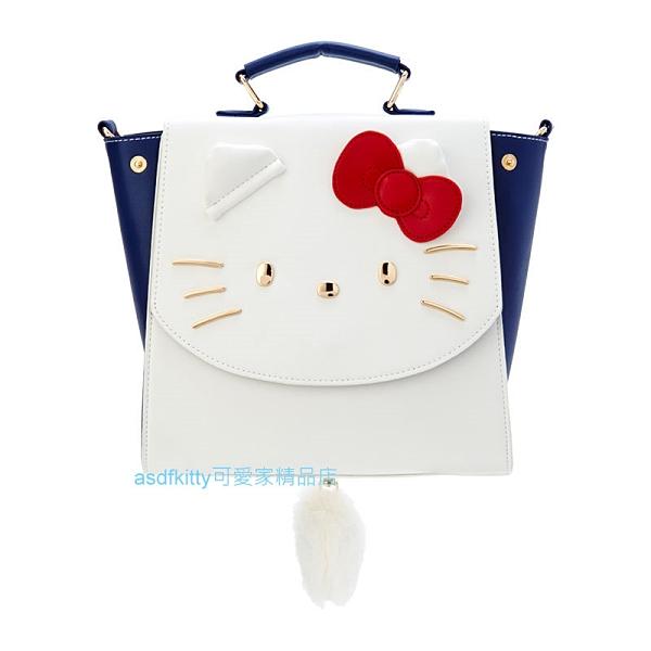 asdfkitty*KITTY大臉藍白色PU皮3用收納包-斜背包/後背包/手提包-日本正版商品