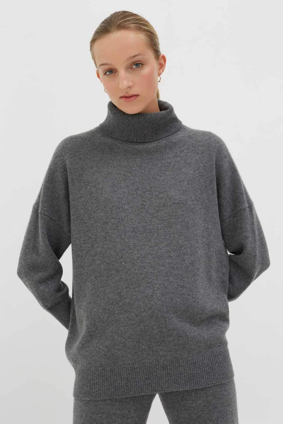 Grey Cashmere Rollneck Sweater